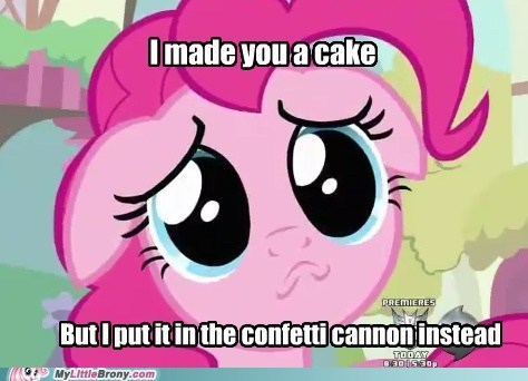 confetti cannon cute i made you a cake Party pinkie pie time for party - 5884345856