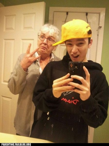 gang signs,grandma,self poortrait,self portrait,g rated,Parenting FAILS