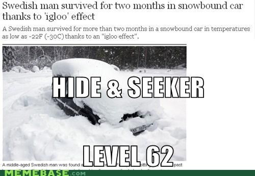 car,hide and seek,igloo,Memes,survival,Sweden