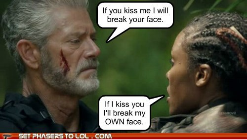 break christine adams face kissing mira nathaniel taylor Stephen Lang terra nova