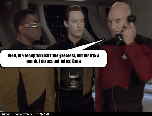 brent spiner Captain Picard cell phone data Geordi Laforge levar burton patrick stewart plan reception Star Trek - 5884943104