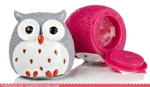 case container cosmetics lip balm Owl