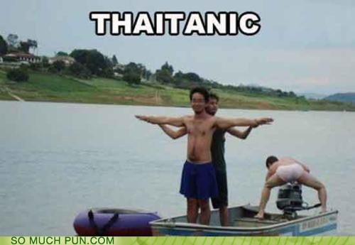 ethnicity,homophone,king of the world,leonardo dicaprio,posing,prefix,recreation,scene,Thai,titanic
