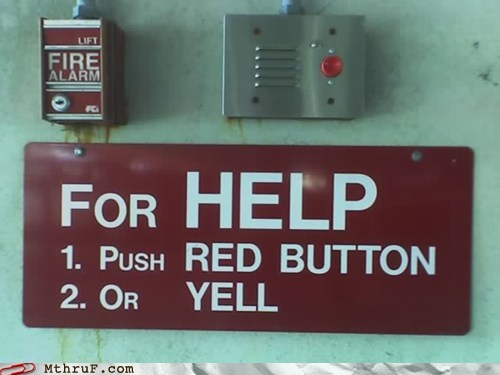 fire alarm help sign yell