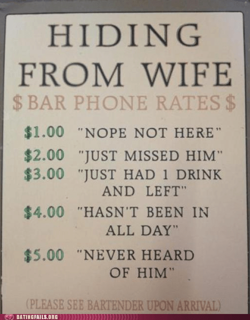 bar phone,escaping,hiding from wife,making excuses