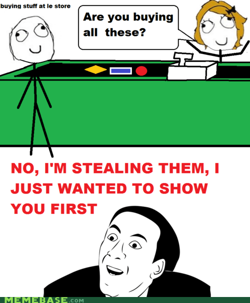 buying Rage Comics stealing store theft