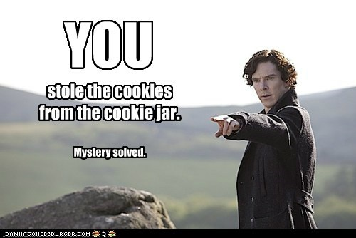YOU stole the cookies from the cookie jar. Mystery solved.