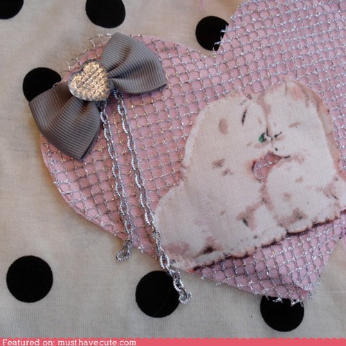 brooch handmade heart kitten pin - 5888782336