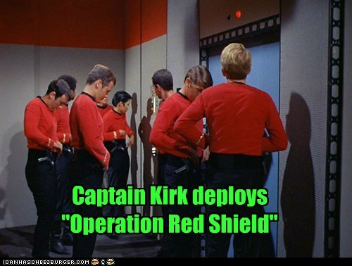 Captain Kirk,red shirt,sheild,Star Trek,wise decision