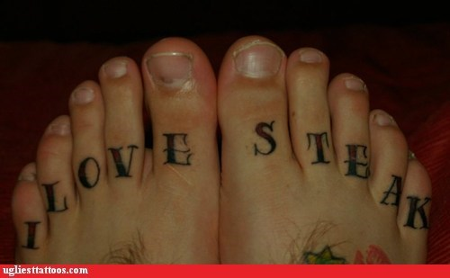 food love,i love steak,steak,toe tattoo