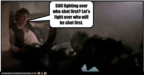 annoyed fighting Han Solo Harrison Ford star wars who shot first