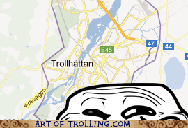 map,troll face,trollhattan