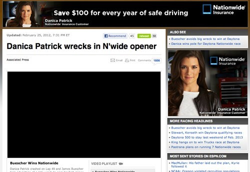 cars,crash,Danica Patrick,irony