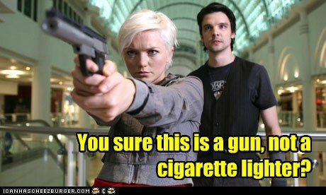 abby maitland,andrew lee potts,cigarette lighter,connor temple,gun,hannah spearritt,Primeval