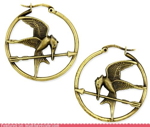 bird book earrings gold hoops hunger games Movie - 5895678464