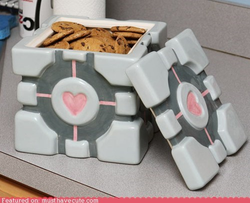 companion cube,cookie jar,game,Portal