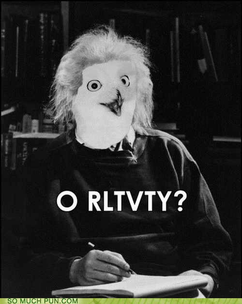 albert einstein,einstein,orly,Owl,relativity,similar sounding,vowel-less