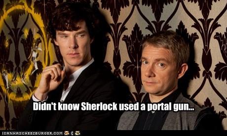 bennedict cumberbatch,Martin Freeman,portal gun,Sherlock,sherlock bbc,Watson