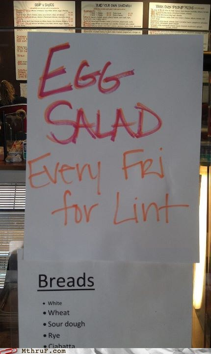 egg salad,lent,menu,restaraunt