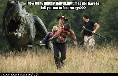 Andrew Lincoln dinosaur feeding Rick Grimes shane walsh strays The Walking Dead - 5897436416