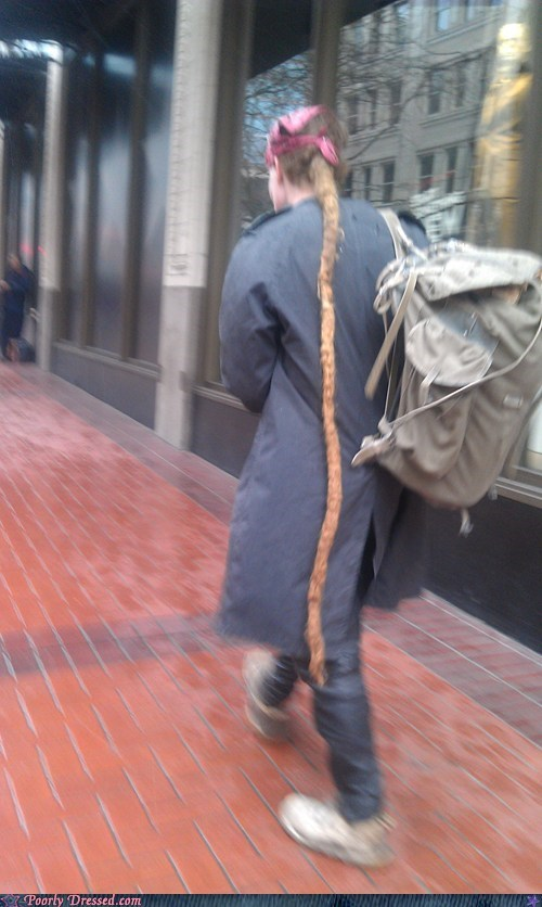 hair hobo homeless rat tail snake