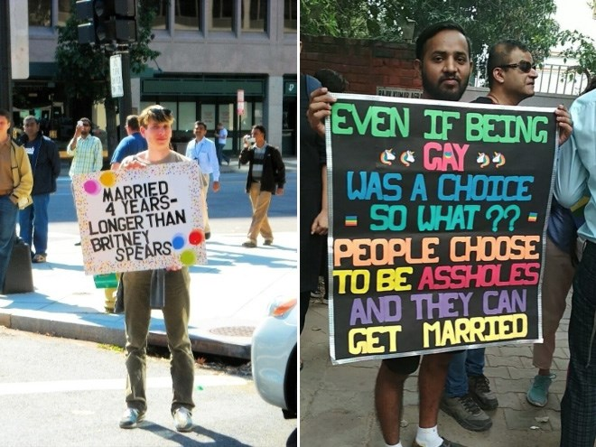 clever signs from a pride parade that are great puns or make excellent points