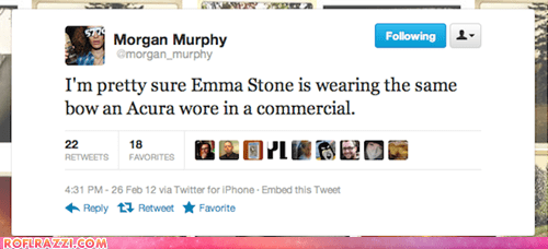 academy awards bows cars dresses emma stone fashion morgan murphy oscars tweets twitter - 5898745856