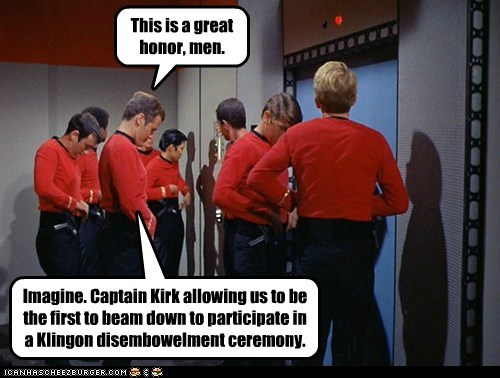 Captain Kirk,ceremony,disembowlment,honor,klingon,redshirts,Star Trek