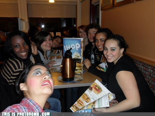 awesome,food,ihop,pancakes,photobomb,scary