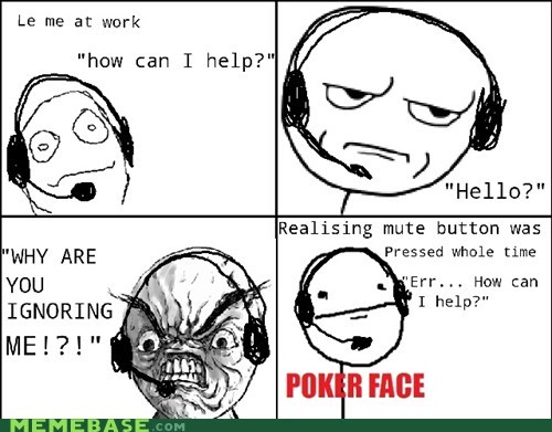 desk hello mute Rage Comics telemarketing work - 5901480448