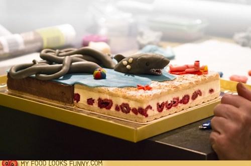 beach berries cake chocolate fondant octopus shark sharktopus - 5901533440