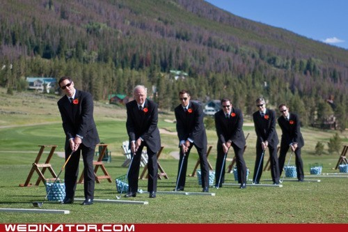funny wedding photos golf Groomsmen sports