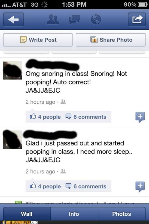 auto correct class poop pooping school snoring