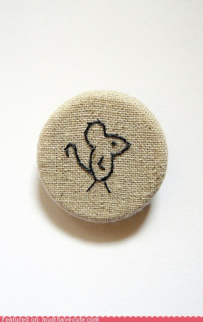 accessory brooch embroidered linen mouse rustic - 5902224384