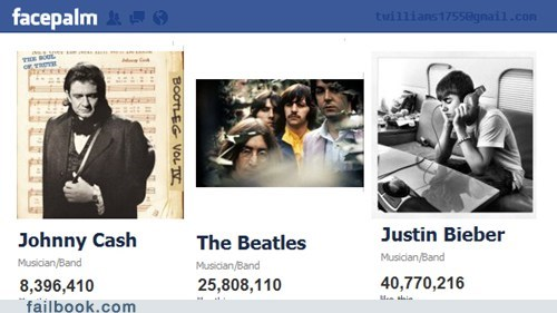 facebook fans johnny cash justin bieber the Beatles - 5902442240