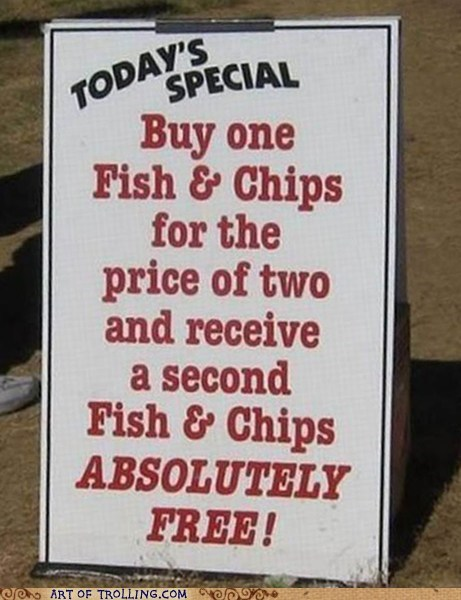 deal fish and chips IRL sign - 5902634240