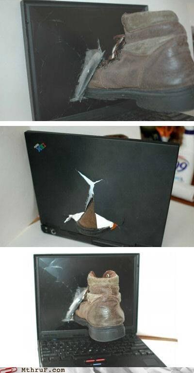anger anger issues boot IBM ibm thinkpad kick rage screen damaged shoe thinkpad - 5902855424