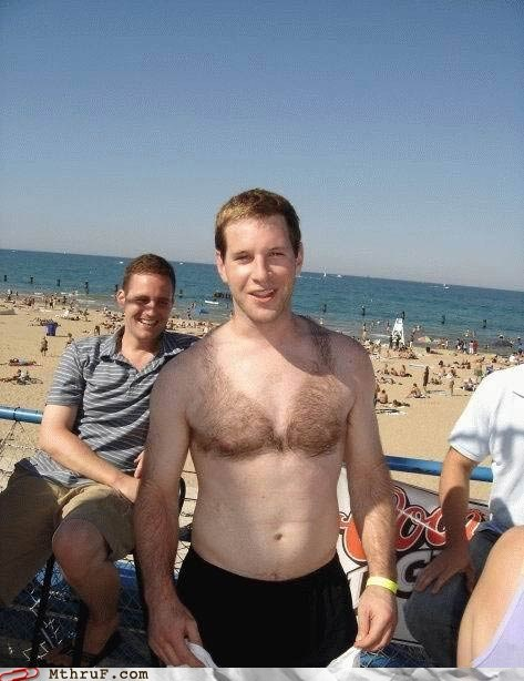 beach,bikini,chest hair,friends,guy
