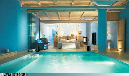 bedroom,pool,weird