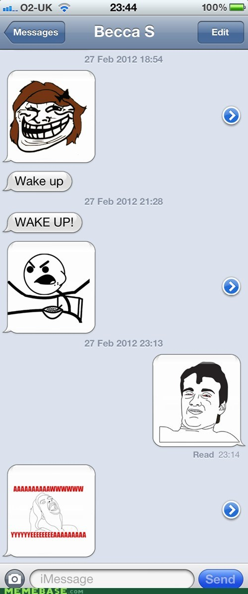 rage faces,sleeping,sms,wake up