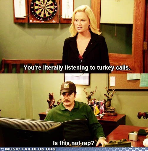 parks and rec parks and recreation rap ron swanson turkey calls - 5903330816