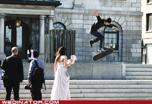 bride funny wedding photos skateboards