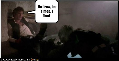 aim fired greedo han shot first Han Solo Harrison Ford star wars