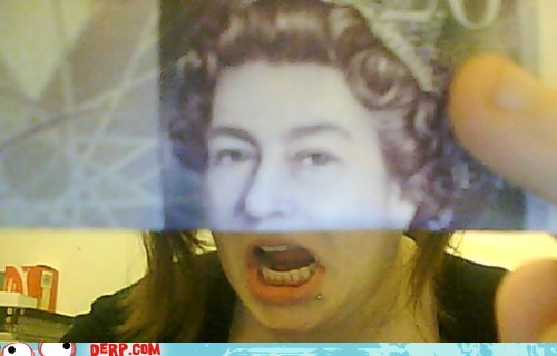 derp money pound the queen
