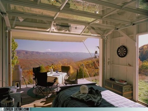bachelor pad,garage,hillside,modest,view