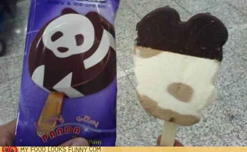 ice cream bar,label,mess,package,panda