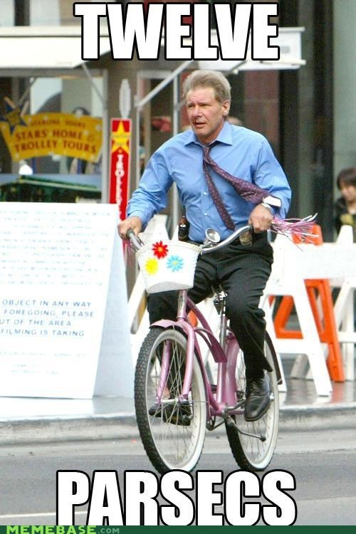 bike girls Han Solo Harrison Ford Memes parsecs - 5907221248