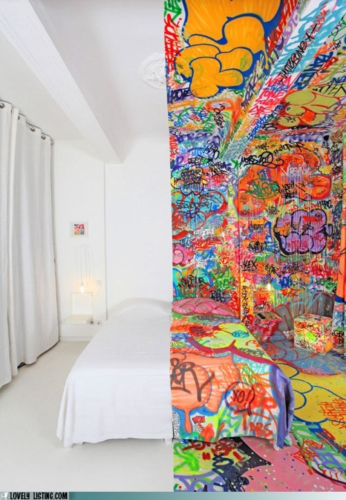best of the week colorful crazy graffiti half hotel room split white