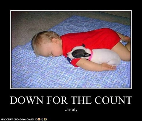 asleep Babies baby best of the week caption child dogs down for the count Hall of Fame human infant puppy sleep sleeping tired whatbreed - 5907315968
