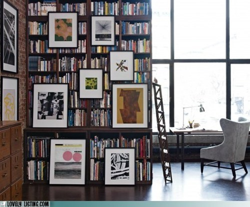 art bookcase books hang silly wall - 5907400960